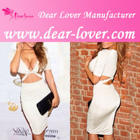 2014 Beige Plunge V-neck Hallow-out Midi Dress latex clothing for woman