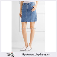 Wholesale Women Apparel Light-blue Denim A-line Front-button and zip Mini Skirt(DQE372SK)