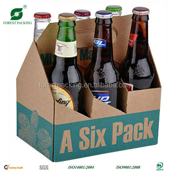 OEM customized high quality cardboard beer packaging box six pack beer packaging carton solution