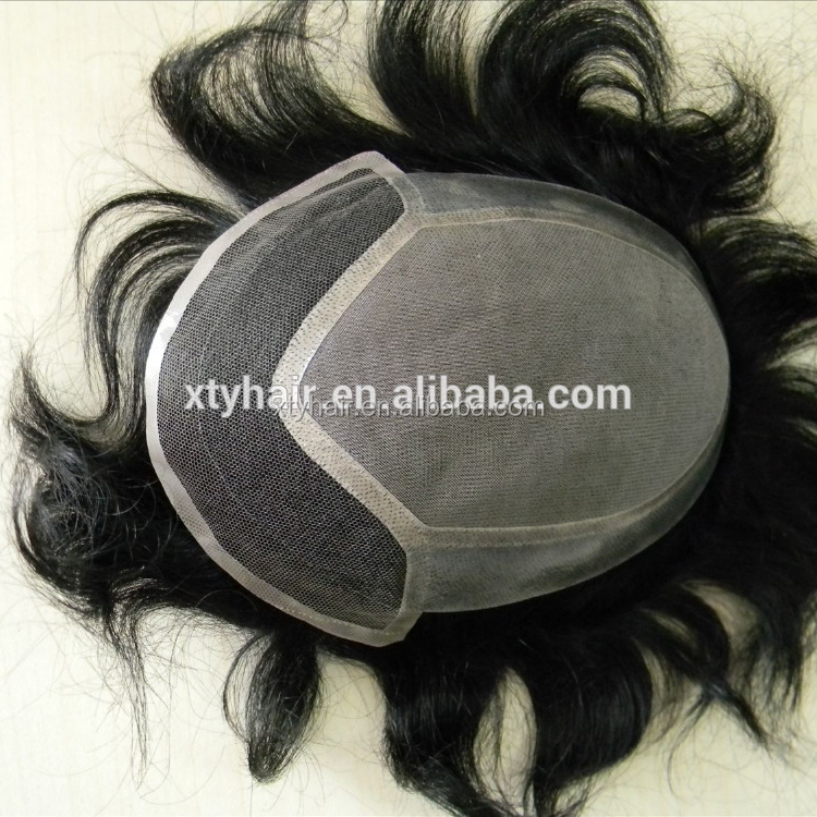 Alibaba express indian remy human hair toupee / natural hair lace front wig for men wig