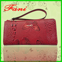2016 fashion trend genuine leather zipper wallet with butterfly emboss design for women