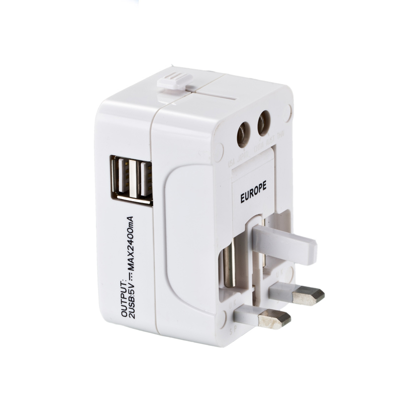 All in one universal travel power adapter 2 USB Charging Ports universal power adapter