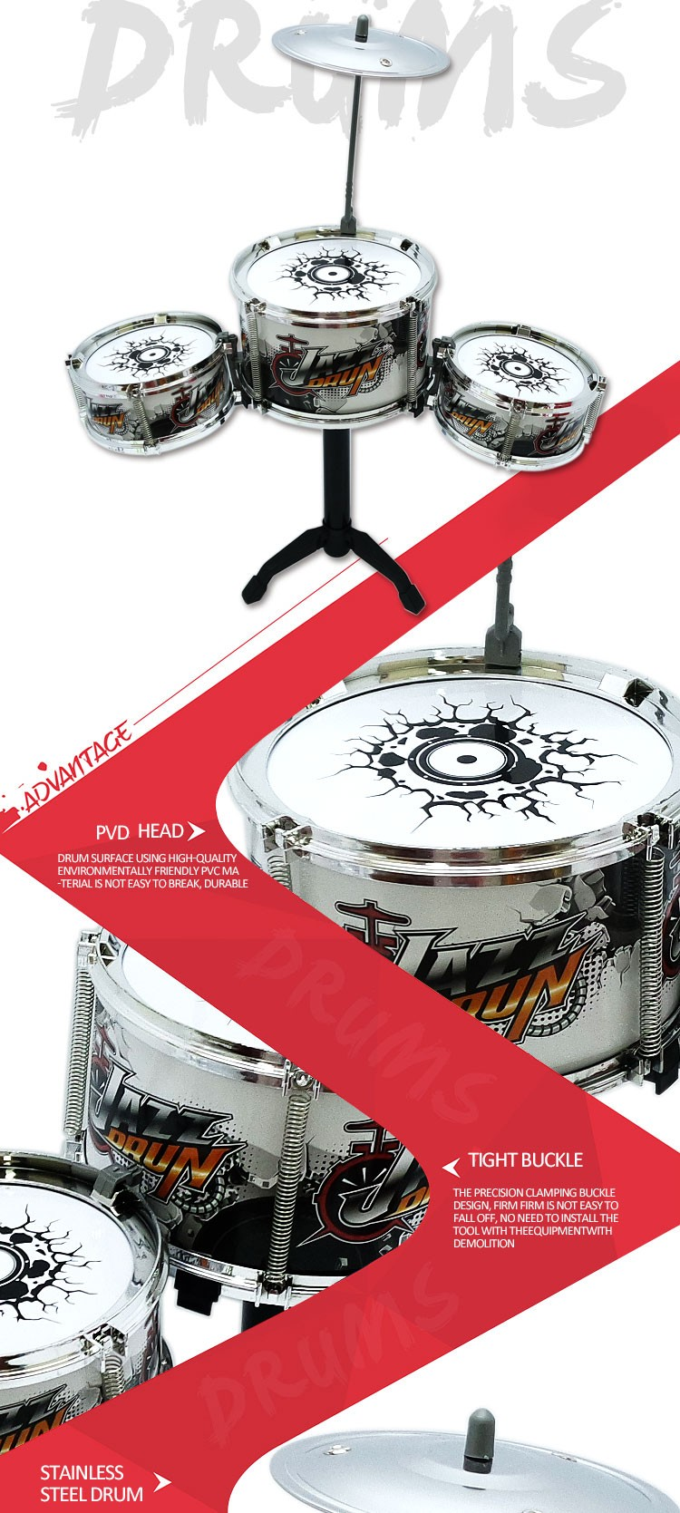 Factory Sale Pretend Play Drum Toys for Kids