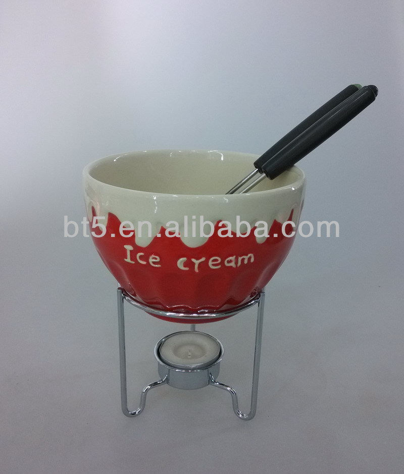 ceramic colored chocolate fondue warmer with metal rack
