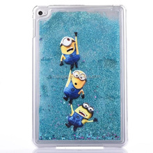 Custom Printed Plastic Clear Crystal Minion Liquid Glitter Star Case For IPad Mini 4