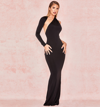 CS-GJ010 Wholesale Amazon Hot Sales One Shoulder Backless Long Sleeve Maxi Mermaid Evening Dress