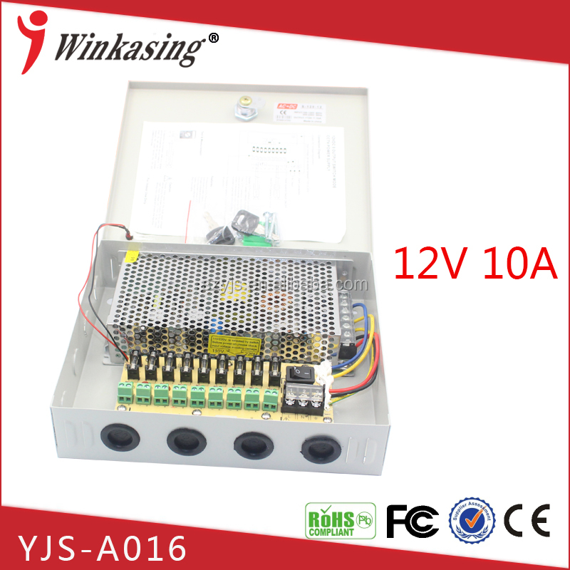 Best price high quality 12V 10A 9CH power supply box shunt filtering lightning protection psu YJS-A016
