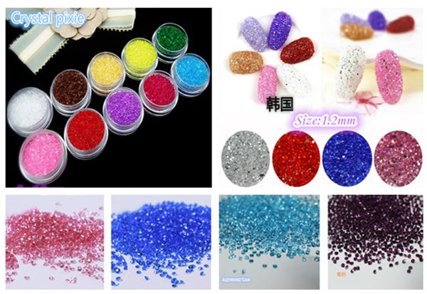 Hot selling luxury bling diamond tiny crystal, 12 color crystal pixie for nail art