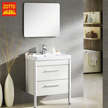 Factory production floor standing waterproof bathroom cabinets dressing mirror with ceramic basin cabinet