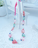 Trendy Clear Heart Shape Beaded Fashion Jewelry Necklace for Baby Girls