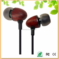 2015 latest style wood in-ear phone with mic, bamboo earphone Shenzhen factory wholesale