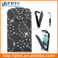 Set Screen Protector Stylus And Case , Bling Black Leather Wallet Cover For Samsung Galaxy Fame S6810