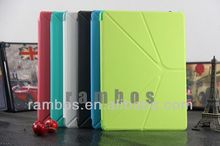 Hot Sale 4 Shapes Leather Case for ipad Air, Smart Cover with Stand Magnetic Slim