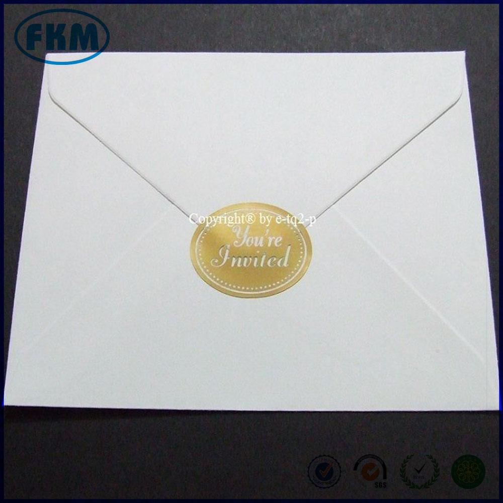 custom made Gold Oval Foil Wedding Engagement Invitation Envelope STICKERS SEALS
