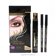 Unique Fiber Long Curl mascara With Gift an Eyebrow Pencil and Eyeliner Pencil waterproof