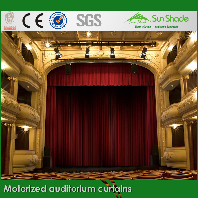 New Custom made Auto Motorized Auditorium curtains for Sales