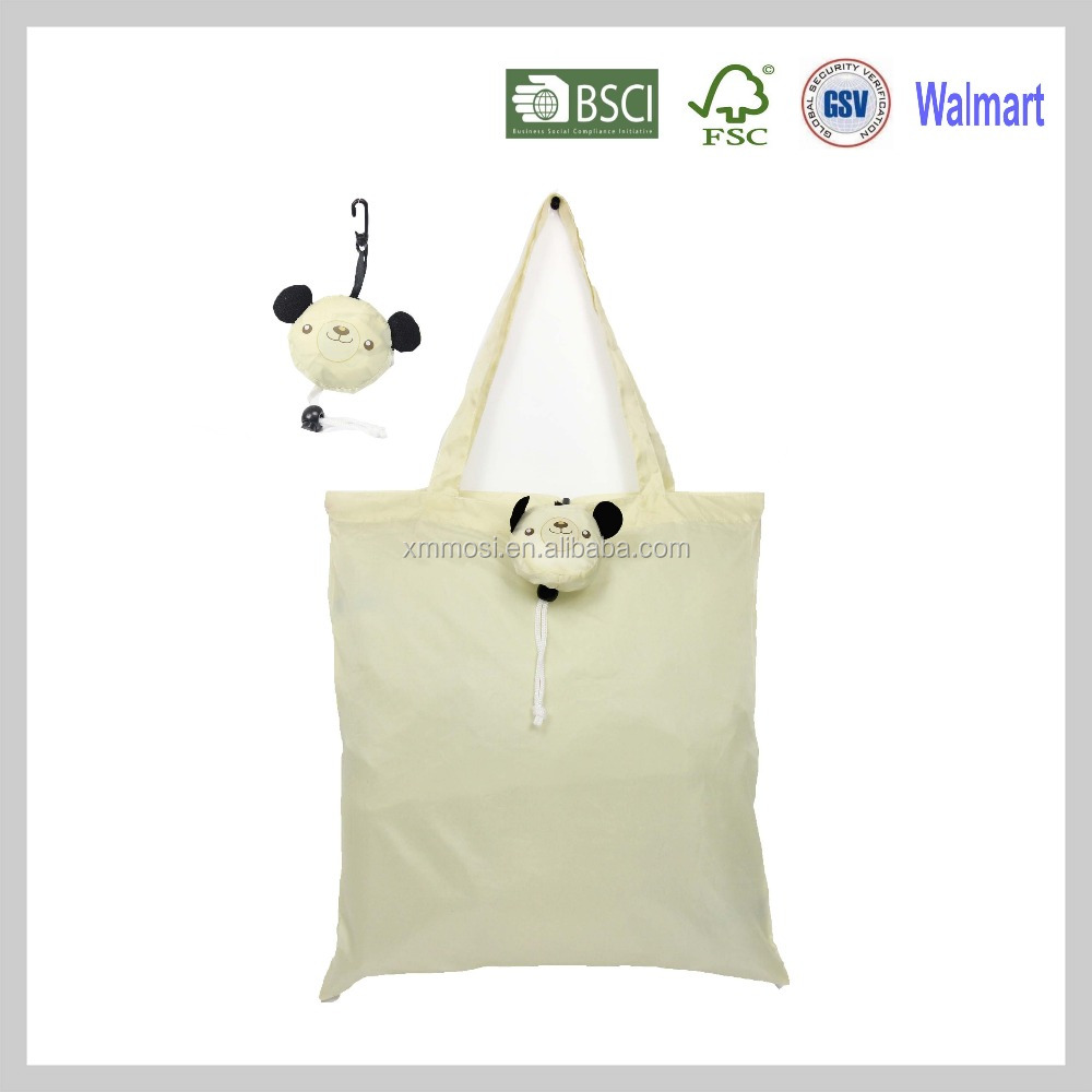 Long handle Bear eco foldable shop bag polyester with long handle