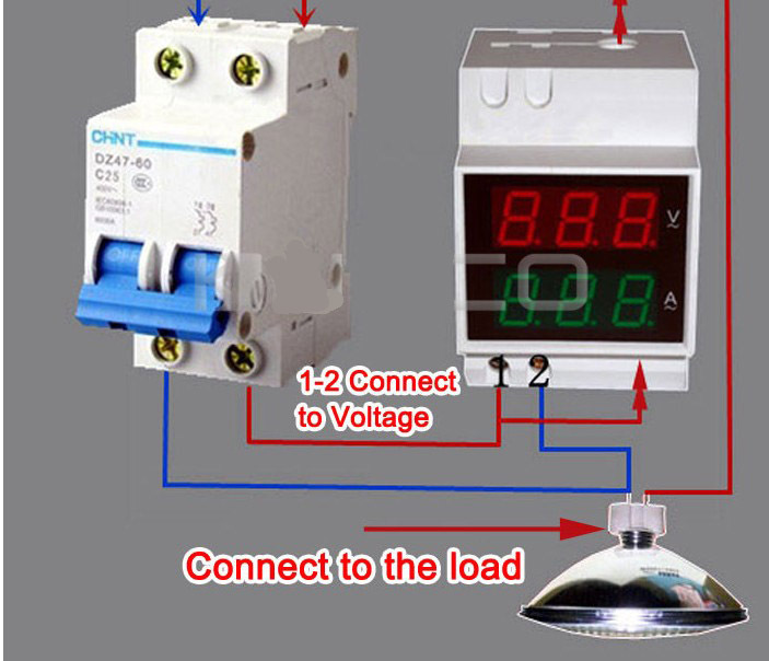 Dual Display Din-Rail slide Way AC Ammeter Voltmeter AC80-300V AC0.01-99.9A digital Voltage Current Meter
