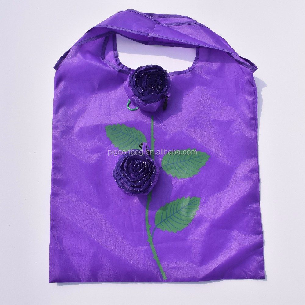190T 210D recycled polyester foldable shopping bag with roll folable cheap promotional fashionable folding rose shopping bag
