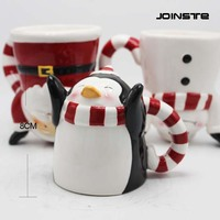 Christmas promotion coffee ceramic cup ceramic mug with penguin design