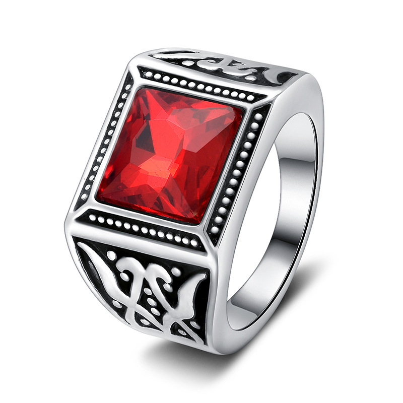 Wholesale fashion jewelry 2016 alloy red crystal cock rings