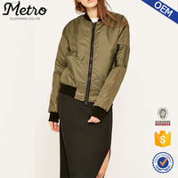 Wholesale 2016 Women Luxe Satin Olive Green Bomber Jackets