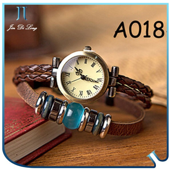 Various shaple Mixed designs genuine leather vintage watch with 10 colors antique wrist watch wholesale