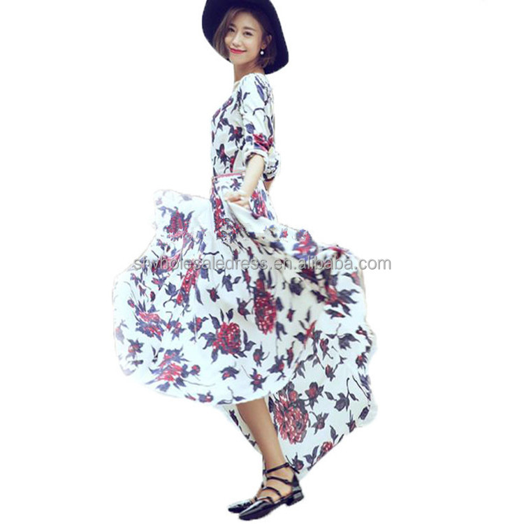 Women long sleeve floral print full length chiffon long maxi dress