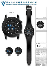 silicone watch show time in different way,golf gps watch,plus tech touch screen watch