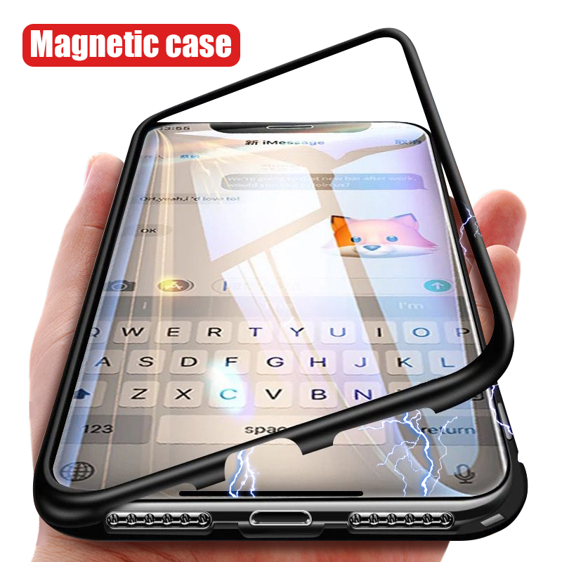 Hot Sell Front+Back Tempered Glass Magnetic Adsorption Case for iPhone X 8 Plus 7 XS <strong>Max</strong>