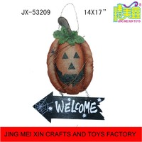 Artificial fabric pumpkin hanging with welcome board