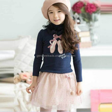2015 Top Fashion Shoes Printed Girl T-shirts Turtle Neck Lace Bow Dark Blue&Pink&White Girl T-shirts