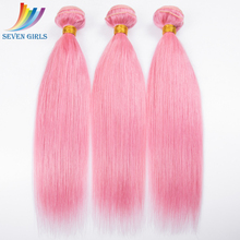 Can be dyed Top quality 100% malaysian human hair pink color extension weave