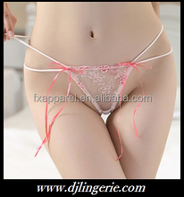 white embroidered pink ribbon bowknot G-string
