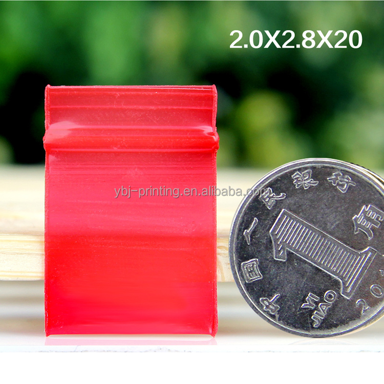 stock 1.8*2cm red <strong>plastic</strong> extremely thick and small ziplock bag