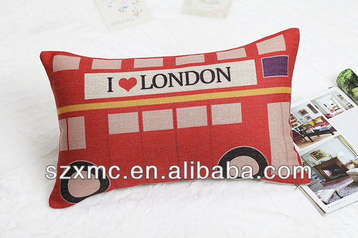 red bus printing decorative outdoor waterproof pillow case