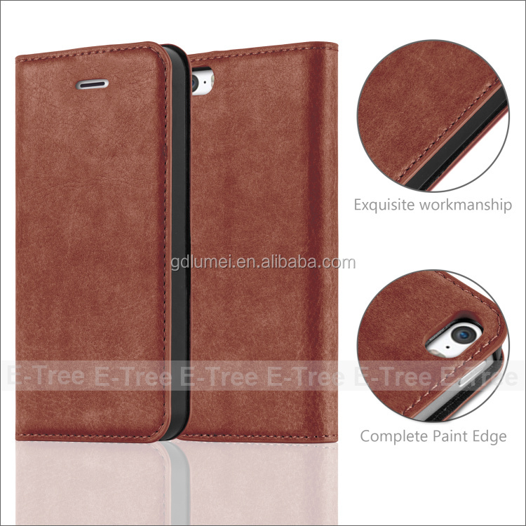 Protective Custom PU leather Magnet Flip card slots stand wallet cover phone case for Apple Iphone 5 5s 5c SE 7 plus