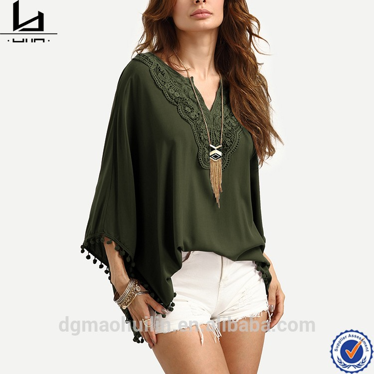 Egyptian cotton clothing bestseller lace up v neck women floral print ruffle hem blouse cotton