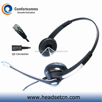 Specialized binaural call center headset RJ11 telephone plug with mic HSM-902RPQDRJ