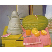 Handmade Fernando Botero fat figure oil painting, Still Life with Watermelon