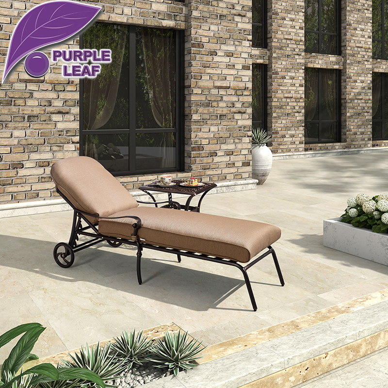 Purple Leaf Antique Style Chaise Outdoor Garden Aluminum Brown Lounge Chair