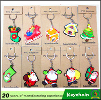 2016 promotional gift cheap Christmas decoration Santa Claus metal keychain Christmas trees key chain Christmas hat