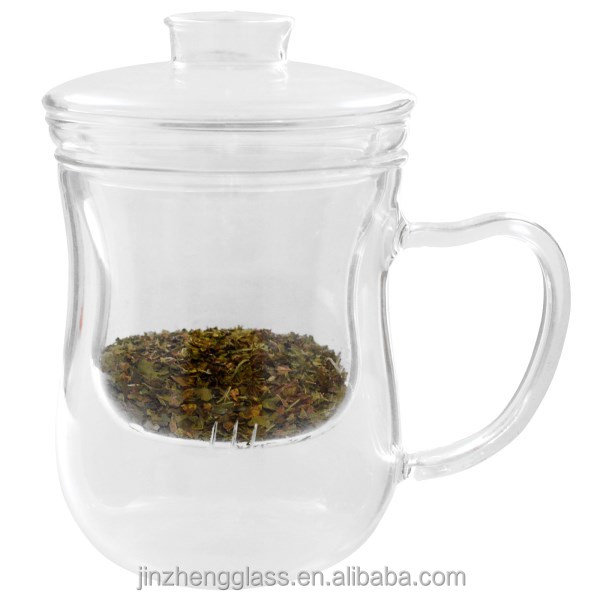 crystal cheap clear Office cup with Tea Infuser Filter & Lid