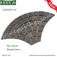 Black basalt cobblestone european fan pavers on mesh