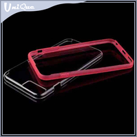 Silicon rubber bumper frame with PC TPU back cover cell phone case for iphone 6 plus ,Shockproof hard soft clear case