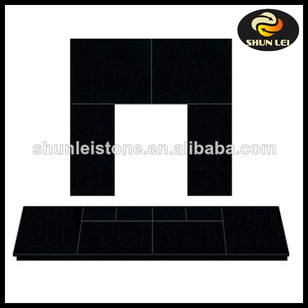 Slabbed Black Granite Set For Solid Fuel, Open Fires or an Inset Stove