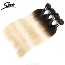 Sleek 8A Ombre colored Indian Straight Hair T1B/613 Remy Hair Weave Bundles 100% Human Hair Extensions