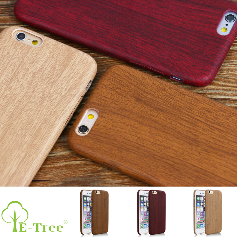 Blank Wooden Style Pattern Shock proof PU Leather Wood Phone Case For iPhone 6 Back Cover