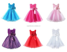 Girls Bridesmaid Dress Baby Flower Kid girl Party Rose Bow Wedding Dresses Princess costume BP2614