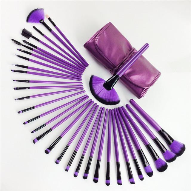 Professional 32 pcs Big Makeup Brushes Set For Women Fashion Soft Eyebrow Shadow Make Up Brush Set Kit + Pouch Bag